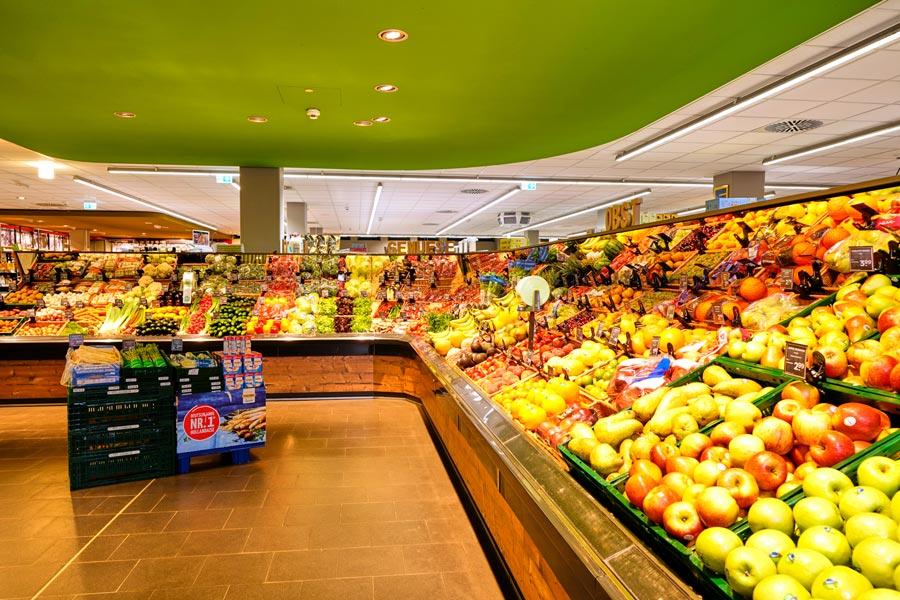 Abteilung von Obst und Gemüse